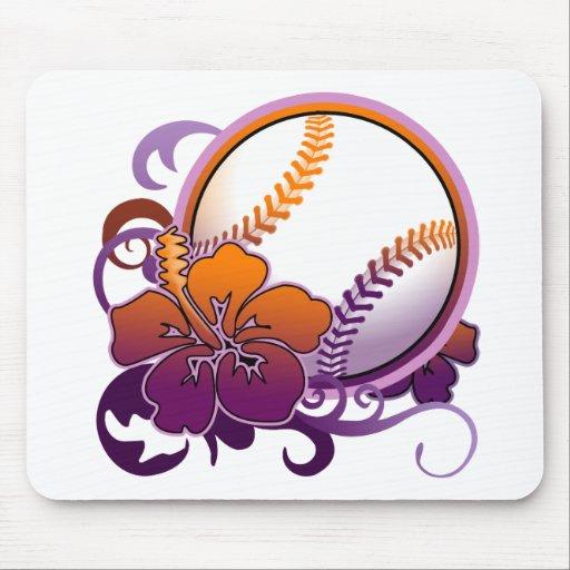 Púrpura tropical Mousepad de la flor del béisbol d