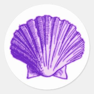 Púrpura tropical Shell del claro de luna Pegatina Redonda