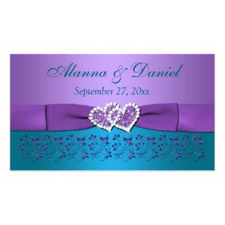 Púrpura, trullo floral, corazones que casan la eti plantilla de tarjeta de visita