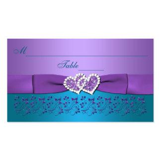 Púrpura, trullo floral, corazones que casan tarjetas de visita