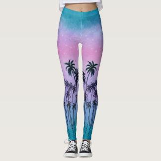 Púrpura-turquesa Palmtrees Leggings
