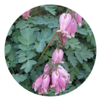 Púrpura verde del corazón sangrante invitación 13,3 cm x 13,3cm