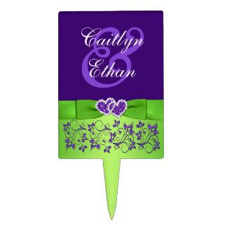 Púrpura, verde floral, selección del pastel de bod figuras de tarta