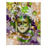 Púrpura verde veneciana de la máscara de la póster