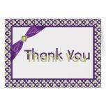 Púrpura, verde, y blanco gracias tarjeta de nota