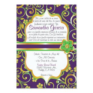 """Púrpura, verde y español oscuros Quinceañera Invi Invitación 5"""" X 7"""""""