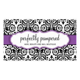 Púrpura violeta del negro elegante del damasco de  plantillas de tarjeta de negocio