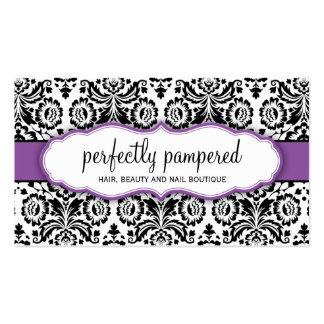 Púrpura violeta del negro elegante del damasco de tarjetas de visita