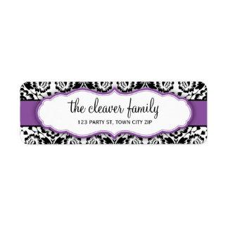 Púrpura violeta del negro elegante del damasco del etiqueta de remitente
