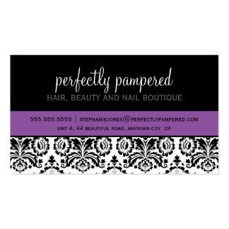 Púrpura violeta del negro moderno del damasco de l tarjeta de visita