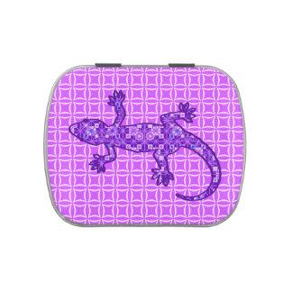 Púrpura violeta y amethyst del Gecko tribal del Jarrones De Dulces