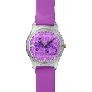 Púrpura violeta y amethyst del Gecko tribal del Relojes De Pulsera