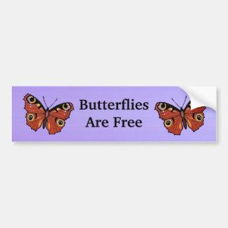 Púrpura viva bonita de la mariposa de monarca pegatina para auto