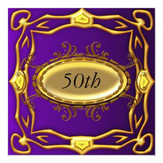 Púrpura y 50.a invitación del cumpleaños del oro