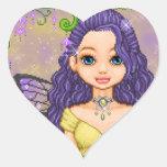 Púrpura y arte del pixel del Faery del oro Calcomanía Corazón Personalizadas