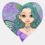 Púrpura y arte del pixel del Faery del trullo Calcomania Corazon