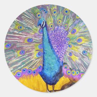Púrpura y azul de la danza del pavo real pegatina redonda