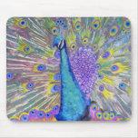 Púrpura y azul de la danza del pavo real tapete de ratones