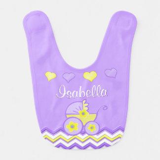 Púrpura y baberos personalizados amarillo del bebé