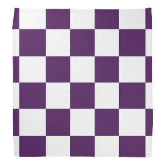 Púrpura y blanco a cuadros bandana