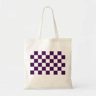 Púrpura y blanco a cuadros bolsa tela barata