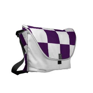 Púrpura y blanco a cuadros bolsas messenger
