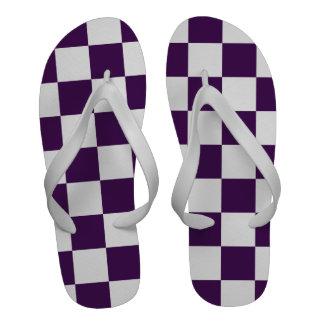 Púrpura y blanco a cuadros chanclas de playa