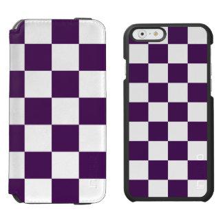 Púrpura y blanco a cuadros funda billetera para iPhone 6 watson