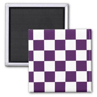 Púrpura y blanco a cuadros iman
