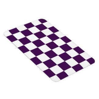 Púrpura y blanco a cuadros imanes