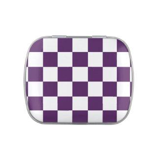 Púrpura y blanco a cuadros latas de caramelos