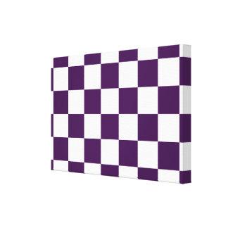 Púrpura y blanco a cuadros lona envuelta para galerias