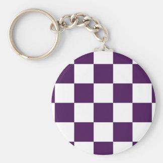 Púrpura y blanco a cuadros llavero redondo tipo pin