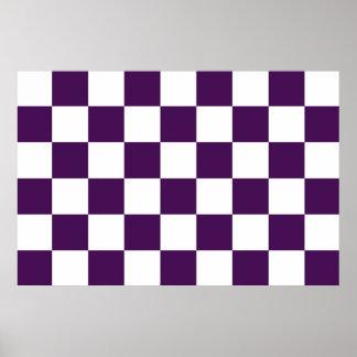 Púrpura y blanco a cuadros poster