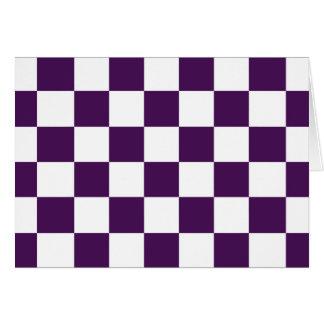 Púrpura y blanco a cuadros tarjeta de felicitación