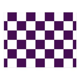 Púrpura y blanco a cuadros postal