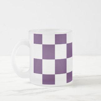 Púrpura y blanco a cuadros taza cristal mate