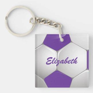 Púrpura y blanco adaptables del balón de fútbol llavero cuadrado acrílico a doble cara
