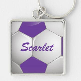 Púrpura y blanco adaptables del balón de fútbol llavero cuadrado plateado