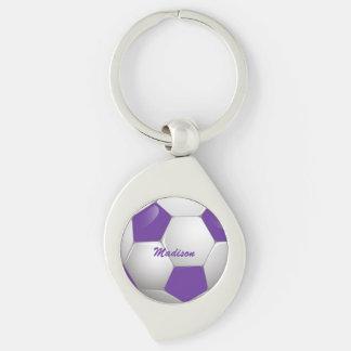 Púrpura y blanco adaptables del balón de fútbol llavero plateado en forma de espiral