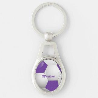 Púrpura y blanco adaptables del balón de fútbol llavero plateado ovalado