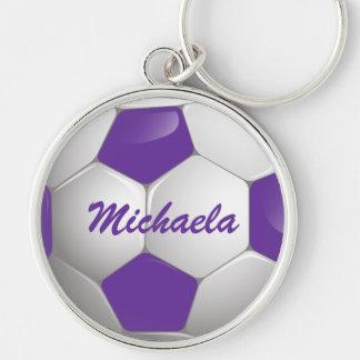 Púrpura y blanco adaptables del balón de fútbol llavero redondo plateado