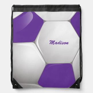 Púrpura y blanco adaptables del balón de fútbol mochilas