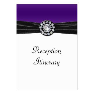 Púrpura y blanco con terciopelo negro y el boda de tarjetas de visita