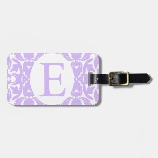 Púrpura y blanco cones monograma de la etiqueta de etiquetas de equipaje