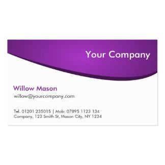 Púrpura y blanco curvados, tarjeta de visita profe