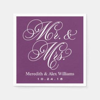 Púrpura y blanco del ciruelo de Sr. y de señora Servilletas De Papel