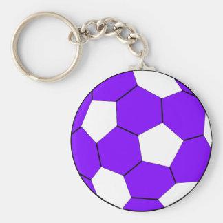 Púrpura y blanco del fútbol del fútbol llavero redondo tipo pin