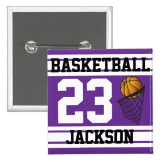 Púrpura y blanco personalizados del baloncesto pin cuadrada 5 cm