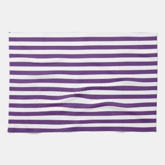 Púrpura y blanco raya la toalla de cocina